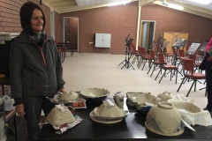 Joy Adams with the pottery that she instructed the Bonsai Buddies Class on how to make.