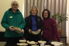 Irene Jones, Robyn Fish, and the potter Joy Adams, with their pots they made at Dianna's U3A Bonsai class.
