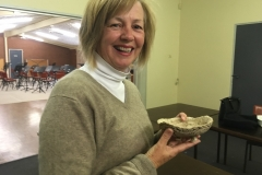 Anne Coomans with her pot she made at Dianna's Bonsai class.