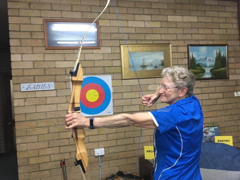 Lynette Vidler demonstrating Archery