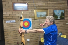 Lynette Vidler demonstrating Archery